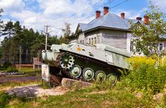 Soviet light semi armored tracked artillery tractor AT-P  as monument Stock Photos