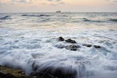Seashore after sunset - stock photo