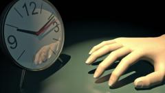 Clock with hand tapping impatiently, 3D animation Stock Footage