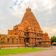 View at the tower Hindu Brihadishvara Temple, India, Tamil Nadu, Thanjavour,  Stock Photos