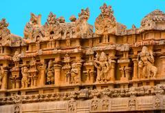 fragment of bas-relief Hindu Brihadishvara Temple, India, Tamil Nadu, Thanjav - stock photo
