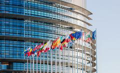 European Parliament facade with all EU European Union Country flags Kuvituskuvat