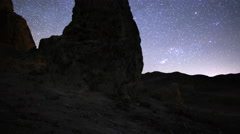 4K 3 Axis Motion Control Astro Time Lapse of Stars & Rock Formation -Long Shot- Stock Footage