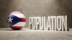 Stock Illustration of Puerto Rico. Population Concept.