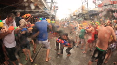 Songkran crazy water festival Thailand Stock Footage