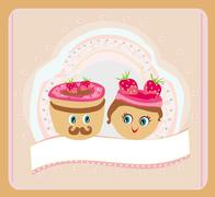 Stock Illustration of Illustration of a cute pair of cookies