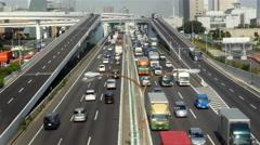 Heavy Truck Traffic on Japanese Highway -   Tokyo Japan - stock footage