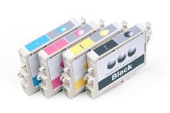 Cartridges for colour inkjet printer Stock Photos