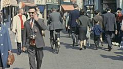 Holland 1963: people walking in the street Stock Footage