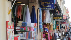Store front market Thailand tracking Stock Footage