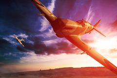 Supermarine Spitfire in fligjt with clouds during sunset Stock Illustration