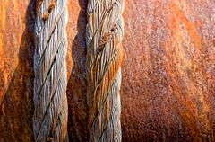 rusty steel cables - stock photo
