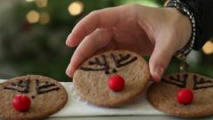 Plate of christmas cookies with festive decoration, close up HD Stock Footage