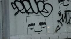 Truck graffiti driving snow blizzard 4k slow motion snowing NYC Manhattan Stock Footage