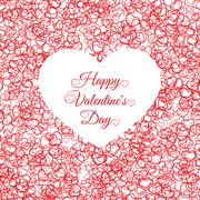 Valentines day vintage lettering background with hearts Stock Illustration