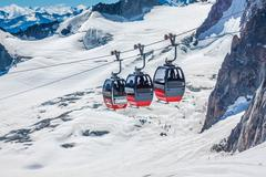 MONT BLANC, ITALY - AUGUST, 19: the highest cable way in Europe, reaching 3.8 Stock Photos