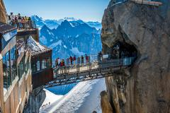 AUGUILLE DU MIDI, FRANCE -2 AUGUST 2013:top station of the Aiguille du Midi 3 - stock photo