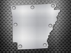Arkansas metal map - stock illustration