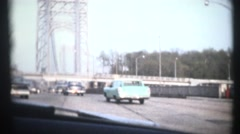 Vintage family road trip, bridge Stock Footage