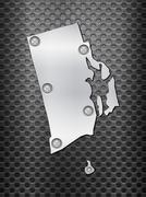 Stock Illustration of Rhode Island metal map