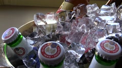 Bottles of beer and ice Stock Footage