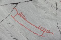 Rock carvings at Alta - stock photo