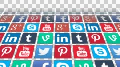 Seamless Loop of Social Media App Icons fading in with Alpha Channel - stock footage