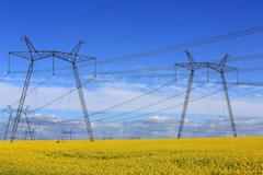 hight voltage power line - stock photo