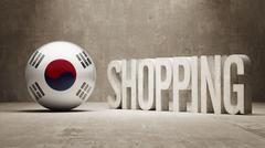 Stock Illustration of South Korea. Shopping Concept.