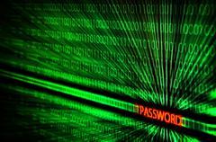 binary code with password hack - stock photo