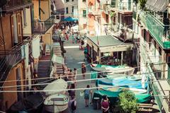 Manarola, Italy,August 10, 2013:Street in a traditional Italian village Manar Stock Photos