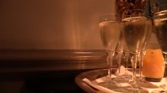 Glasses of sparkling wine Stock Footage