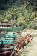 Ko Phi Phi,Thailand,December 8,2013:Traditional Thai longtail boat Stock Photos