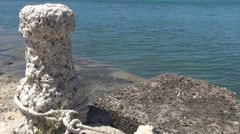 Ancient mooring place for boats. Historical monument. Ancient sea port.  Stock Footage
