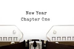New Year Chapter One Typewriter Stock Photos