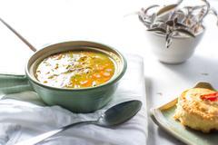 Bowl of split pea homemade soup - stock photo