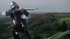 Scout aiming with guns Stock Footage