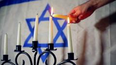 Menora jewish jew flag symbolism israel candle Stock Footage