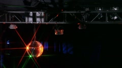Discoball and Overhead Lights in Nightclub Stock Footage