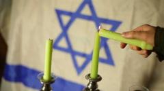 jewish jew flag symbolism israel candle - stock footage