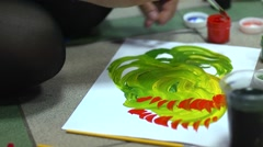 Painting gouache and watercolor class Stock Footage