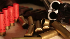 Shotgun and Cartridges Stock Footage