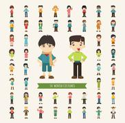 Set of 50 winter collection character - stock illustration