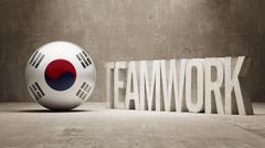Stock Illustration of South Korea. Teamwork Concept.