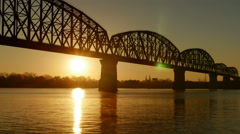 4K Louisville Big Four Bridge Sunrise 1 Stock Footage