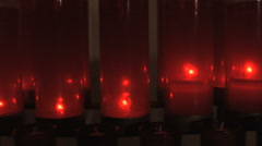 Red Votive Candle Pan Stock Footage