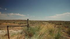 Dry Country Landscape with Old Fence - stock footage