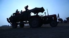 Water Tanker at desert Stock Footage