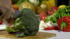 Cutting Broccoli Inflorescences Stock Footage