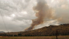 Smoke plume billowing from a forest fire Stock Footage